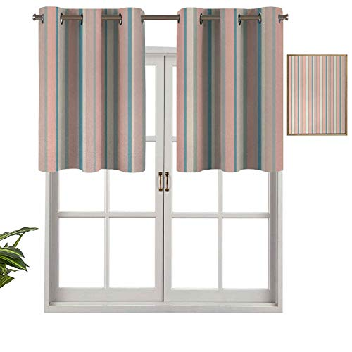 Grommet Top Blackout Curtain Valance Barcode Style Stripes in Pastel Colors Abstract Vertically Aligned Arrangement, Set of 1, 50'x18' Window Treatment for Living Room, Short Straight Drape Valance
