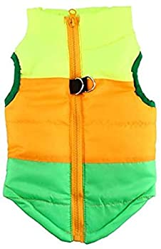 Idepet TM Pet Dog Cat Coat with Leash Anchor Color Patchwork Padded Puppy Vest Teddy Jacket Chihuahua Costumes Pug Clothes XS S M L  L Green