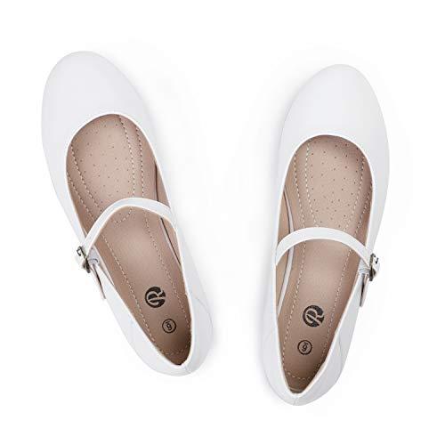 Rekayla Women's Mary Jane Shoes Comfortable Slip on Round Toe Ballet Flats White Size 9