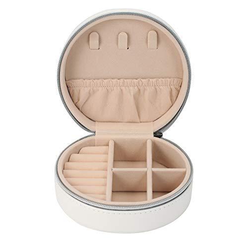 Fesjoy Organizador de pendientes, caja de almacenamiento portátil, caja para guardar pendientes, anillos, collares, caja redonda para pendientes