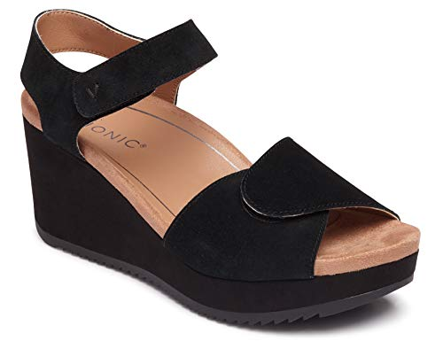 Vionic Women's Hoola Astrid II Wedges - Adjustable Sandals with Concealed Orthotic Arch Support Black 9 M US