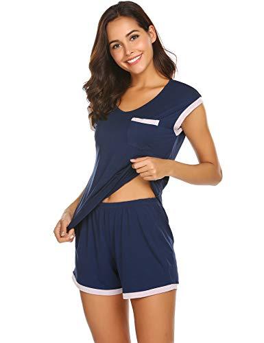 Schlafanzug Damen Kurz Pyjama Shorty Set Kurzarm Nachtwäsche Sommer Zweiteiliger Hausanzug Mit Sommerlicher Shorts & Shirt und Taschen Blau M