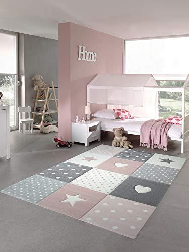 CARPETIA Kinderteppich Spielteppich Babyteppich Mädchen mit Herz Stern rosa Creme grau Größe 140x200 cm