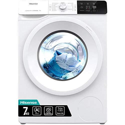 Hisense WFGE70141VM/S Waschmaschine mit Dampf/Inverter Motor/Aqua Stop/Slim Line/ 7kg/ Automatikprogramm/ECO-Programm, Weiß