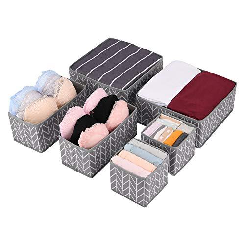 Amazon Brand – Umi Aufbewahrungsbox Kleiderschrank Organizer 6er Set, Schubladen Ordnungssystem Organizer für Unterwäsche BH Dessous Socken, Stoffbox Faltbox für Schubladen Schrank