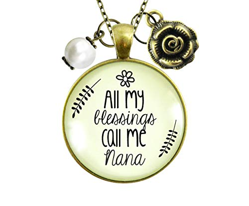 Gutsy Goodness 24' Nana Necklace All My Blessing Gift Quote Womens Grandma Jewelry