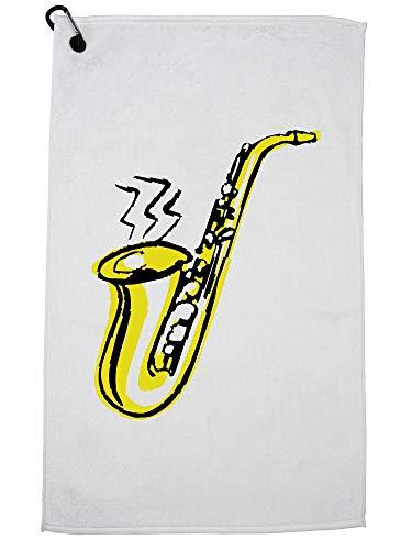Hollywood Thread Zeer Cool Eenvoudige Saxofoon Stencil Tekenen Golf Handdoek met Karabijnhaak Clip