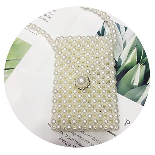 Rilievo Handmade Pearls Borse Piazza Borsa a tracolla di colore solido Semplici Borse Crossbody per il partito Borsa dell'annata delle donne, piccolo sacchetto