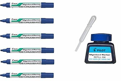 Pilot-6 Rotuladores Pizarra Blanca Pilot WBMA + Tintero de Recarga (Azul)