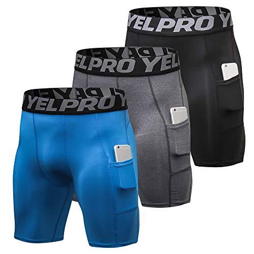 Lixada 3 pcs Hommes Compression Shorts Active Workout sous-Vêtements avec Poche Shorts Actifs pour Hommes pour la Formation de Cyclisme Baseball Basket-Ball Patinage,L,Bleu & Gris & Noir