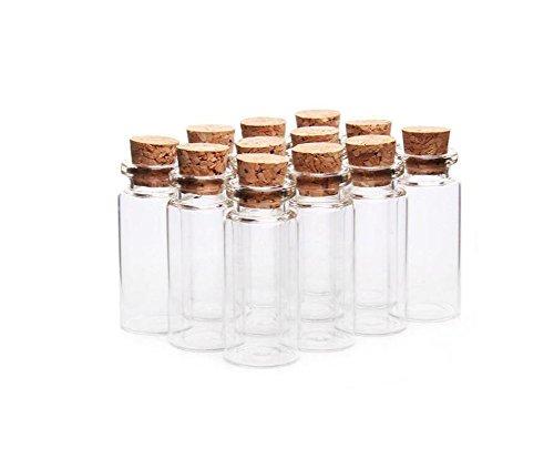 6 unidades de botellas de cristal con tapón de corcho, pequeñas botellas de cristal, para mensajes, bodas, deseos, joyas, fiestas, decoración, contenedores (transparentes) (20 ml)
