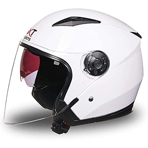 Unisex Casco Retro de Motocicleta Casco,Casco Jet Casco Abierto con Visera Solar,Ertificación Dot/ECE Casco Jet con Lente Incorporada B,XL=61~62CM