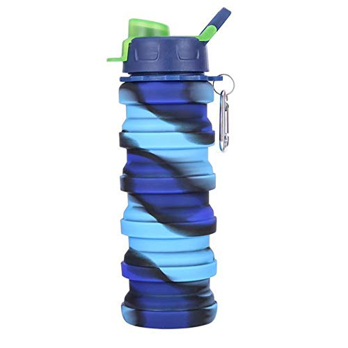 BAIYA Botella De Agua Plegable,Botella De Agua Plegable De Silicona,para El Aire Libre Y Deportes (Azul)