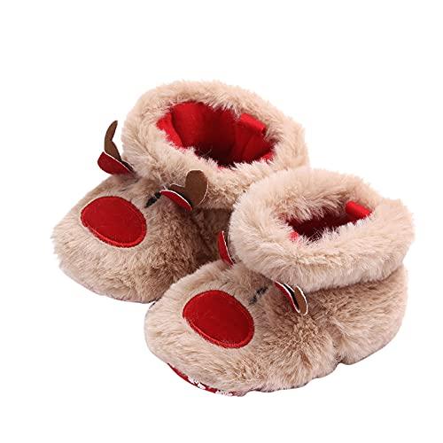 Dinnesis Babyschuhe Mädchen Jungen Weihnachten Plüschtier Prewalker Turnschuhe Warme Schuhe Anti-Rutsch Sohle Schuhe Kinder Kleinkinder