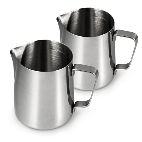 YOUZiNGS Melkkannetje van roestvrij staal voor het opschuimen, set van 2, melkkan 350 ml, melkopschuimer voor koffie, melkschuim, barista opschuimkannetje, cafe, kleur: hoogglans zilver, merk