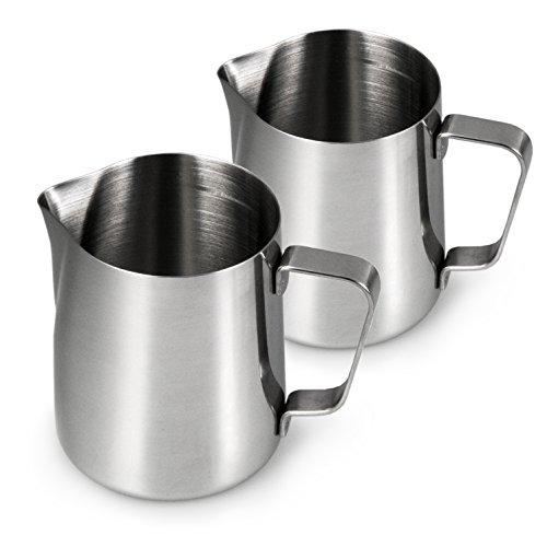 2 x Bricco per latte in acciaio inox, caraffa per latte da 350 ml, per caffè