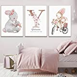 Nombre personalizado Póster de pared Imprimir Nursery Baby Girl Imagen de flor personalizada para niños Arte de la pared Bunny Rabbit Lienzo Pintura 50x70cmx2 Sin marco