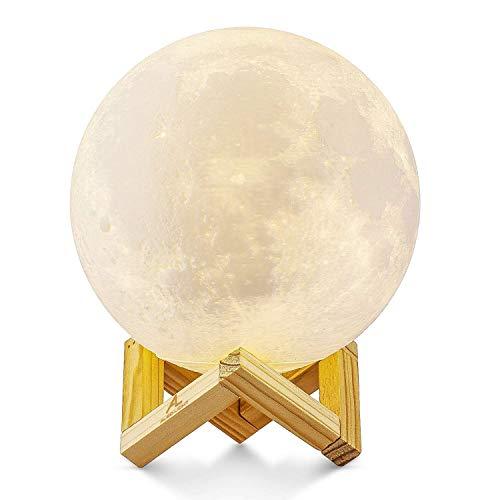 takestop® LED-lamp Globo Moon Light met houten standaard diameter 13 cm 3 kleuren SCRIVANIA nachtkastje Desing ARREDO