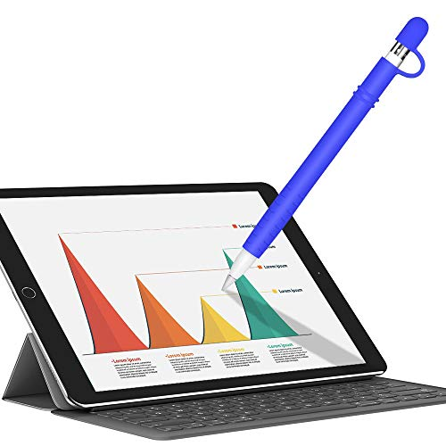 Silicone Case for Apple Pencil Holder Sleeve Skin Pocket Cover Accessories for iPad Pro, Soft Grip Pouch with Charging Cap Holder and 2 Protective Nib Covers(Blue)