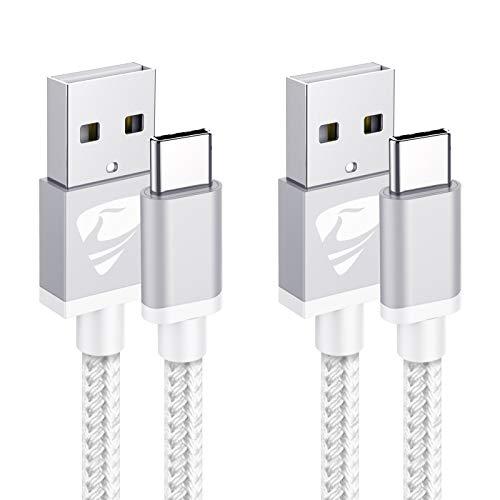 USB Typ C Kabel, [2 Stück 2M+2M] USB C Ladekabel Fast 3A Schnellladekabe Nylon Typ C Ladekabel für Samsung Galaxy S9 S8 S10 S20 A51 A50 A41 A40 A71 A70 A20 A20e A21s, Huawei P30 Lite P20, Sony Xperia