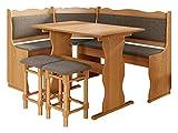 Eckbankgruppe Miki, Erlenholz, Eckbank Gruppe besteht aus Kücheneckbank, 2X Hocker, Tisch, Farbauswahl, Esszimmer Sitzbank (Erle, Peru 04)