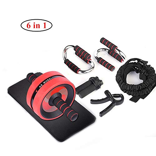 BOSWELL 6-in1 AB Wheel Roller Kit, AB Wheel Roller for Core Workout, Resistance Bands, Knee Pad, Jump Rope, Push-Up Bar and Hand Gripper, Gym Exercise Equipment & Workout Equipment for Home Workouts
