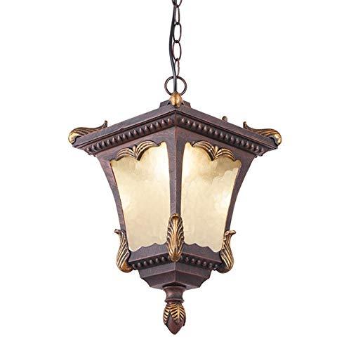 ZCCLCH Lámpara Colgante de Metal Victoria Vintage Tradicional Linterna de Vidrio Lámpara Colgante de Techo Exterior Retro Europea IP44 Iluminación de araña a Prueba de Agua E27 Edison for Porche BALC