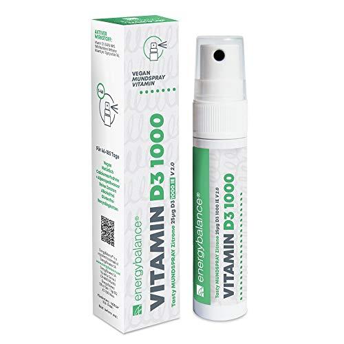 EnergyBalance Vitamin D3 1000 - Mundspray mit Zitronengeschmack - 25 µg pro Sprühstoß - Hohe Bioverfügbarkeit - ohne Alkohol, Vegan, Glutenfrei - Qualität aus der Schweiz - 185 Portionen