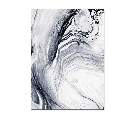 ZYHFBHFBH Canvas Schilderij Nordic Modern Abstract zwart-wit lijn kunst rook poster afdrukken wandafbeelding voor woonkamer decoratie 60x90cm(23.6