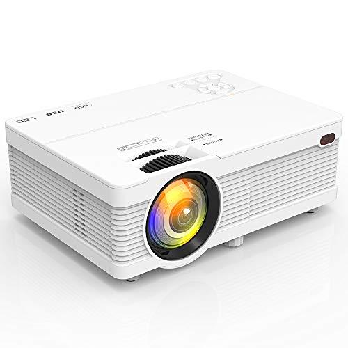 Projector, Mini proyector 5500 portátil LCD proyector Full HD 1080P compatible con Smartphone, TV Stick, juegos, HDMI, AV, proyector para películas al aire libre.