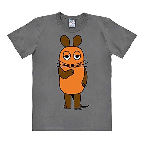 Logoshirt TV - Cartoon - Die Sendung mit der Maus - Die Maus Easyfit T-Shirt grau - Lizenziertes Originaldesign, Größe XXL