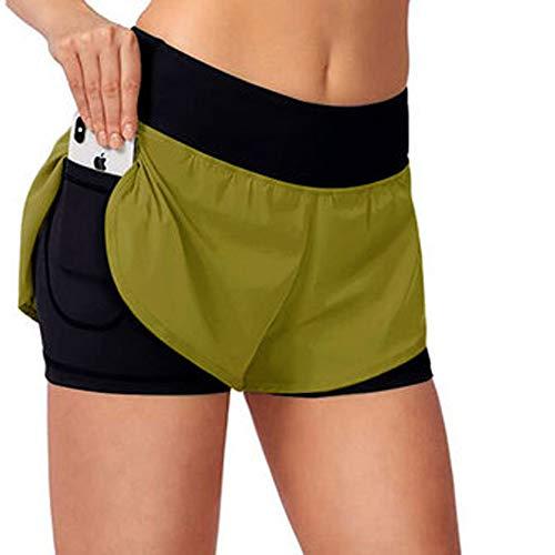 Mujer 2 en 1 Workout Running Fit Shorts Ropa Transpirable de Doble Capa Yoga Gym Sport Shorts con Bolsillos Deportes al Aire Libre Ropa Deportiva de Secado rápido