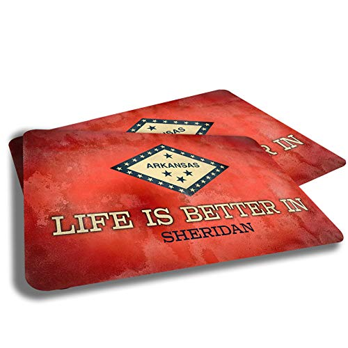 Life is Better in Sheridan Arkansas State Flag Cities Towns Grunge Rubber Grip Non Skid Backing Rug Indoor Entryway Door Rugs Mats Pack of 2