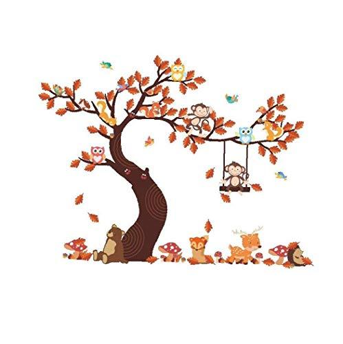 lulongyansf Wand-Aufkleber Schöne Owl Monkey Tree-Muster-Aufkleber Wasserdicht-Kunst-Aufkleber Removable Aufkleber für Wohnzimmer Hauptdekoration für DIY
