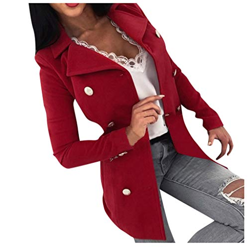 Smileyth Women Plus Size Overcoat Fashion Lady Long Sleeve Lapel Solid Color Double Breasted Mid-Long Coats Fall Winter Cozy Casual Thin Jacket Outwear