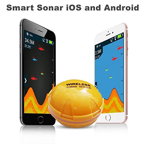 Hyuhome Bluetooth buscador de los Pescados para los Barcos Kayak, Sensor del Sonar de difusión de iPhone iPad iOS Smartphone Android Tablet en Mar Lago Pesca del Hielo, Pesca de Orilla
