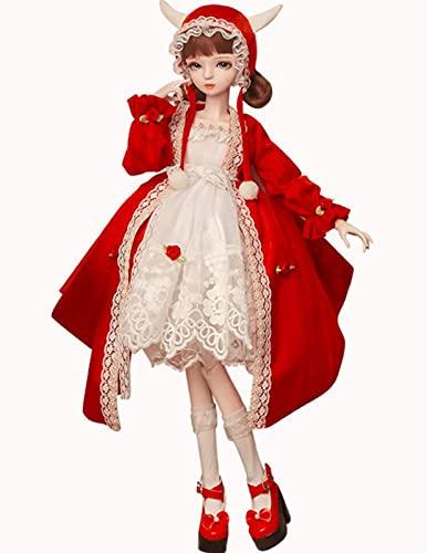 XYZLEO 1/3 Poupées BJD, Poupées Fille pour Enfants Jouets Maquillage Belle et Délicate Poupée d'anniversaire Jouet Poupée Fille Enfant Articulations Poupée Mobile Cadeau