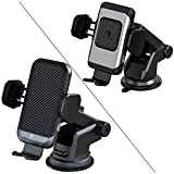2021 Version ZeeHoo 15W Fast Wireless Car Charger Built-in Cooling Fan with ZeeHoo 10W Wireless Car Charger (Silver),Qi Fast Charging Auto-Clamping Car Mount,Windshield Dash Air Vent Phone Holder