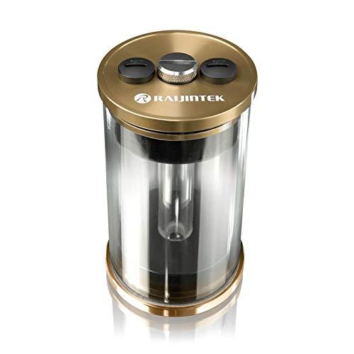 Raijintek RAI-R10 Ausgleichsbehälter für Wasserkühlung PC, Transparenten Reservoir PC PMMA-Zylinder 100mm x 64mm (L x D), Gold