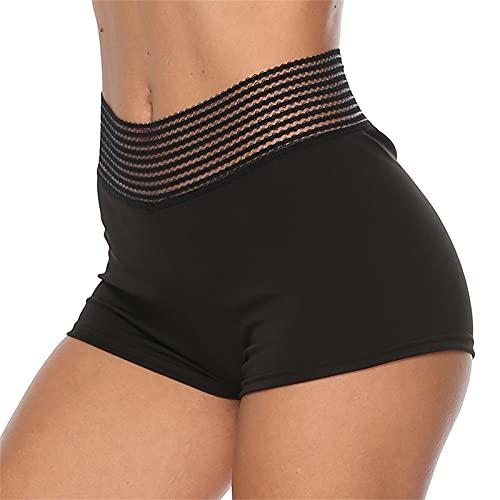 Pantalones Cortos De Deporte De Las Mujeres, 2 Pantalones Cortos De Yoga En Ejecución, Pantalones De Jogger Atléticos Casuales PAJAMES Bottoms,Negro,L