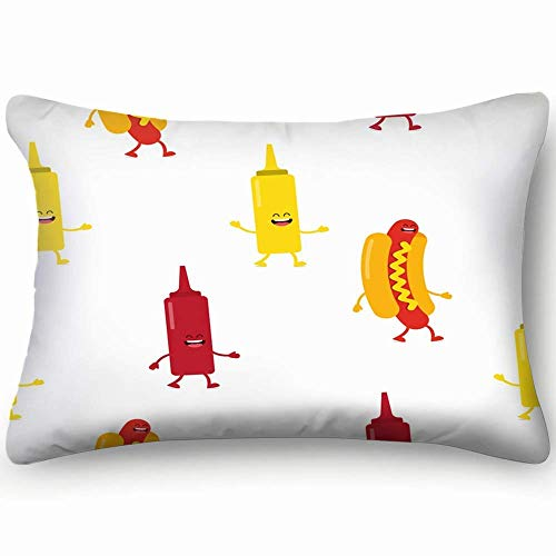 hgdfhfgd Seamless Pattern Hot Dog Bottles Mustard Backgrounds Textures Americanfood and Drink Decorative Pillow Case Home Decor Pillowcase Gifts Colourful (20x30 Inches)