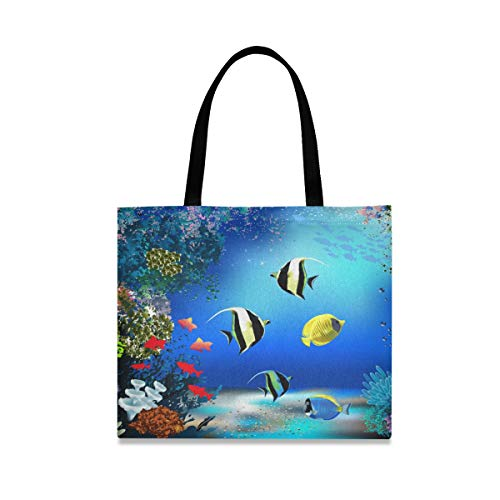 The Underwater World with Fish and Plants Canvas Tote Bag for Women Large Reusable Food Bags with Interior Pocket Shopping Handbag for Gym Beach Travel Outdoor