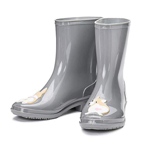 Tubo Medio de Las Mujeres de Moda Lluvia Botas Impermeables Antideslizantes Jardín Zapatos de Dibujos Animados patrón de Moda Outdoor (Color : Gray, Size : 40)