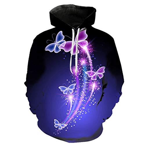 Hombres Mujeres Hermosas Sudaderas de ensueño Shining Butterfly 3D Print Streetwear Parejas Pullover Hoodie...