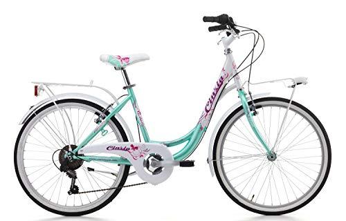 Fahrrad Cicli Cinzia Liberty Mädchen, Stahlrahmen (Seawater / White, 24 Zoll - 6-Gang Shimano)