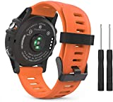 Correa de Reloj de Silicona Suave Compatible con Garmin Fenix 6X Pro/Fenix 6X Sapphire/Fenix 3 / Fenix 5X Plus/5X Sapphire, Repuesto Ideal (Pattern 4)