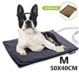 Pecute Pet Heat Pad Medium 40x50cm,Constant Heating Safe Electric Heated Mat Anti Bite Waterproof with Removable Flannel Cover & Fire Retardant Cotton, Soft Cosy for Puppies Kittens(2 Covers)