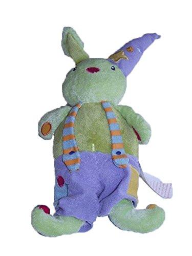 X-anderen–Kuscheltier Vertbaudet grün Stürzen Hase Clown grün Latzhose violett Hut Etoile–6938