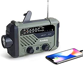 Emergency Radio, Aookay 2000mAh Hand Crank Solar Weather Radio,Portable AM/FM/NOAA Weather Radio with LED Flashlight, Reading Lamp, SOS Alert and USB Cell Phone Charger for Home Outdoor and Emergency