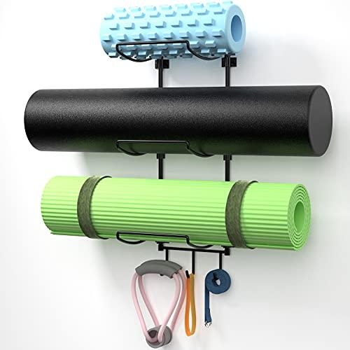 Suchek Yoga Mat Holder Wall Mount, Wall Rack Storage for Yoga Mat, Yoga Tiles, Foam Roller, with 3 Hooks for Hanging Yoga Strap, Resistance Bands, Home Gym Decor for Home Gym Organization (Black)